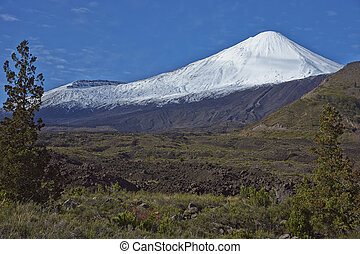 coronado de nieve, pico, de, antuco, volcán, (2, metres),...