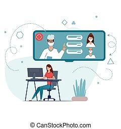 coronarusom., 検疫, 接続, オンラインで, の間, quarantine., あなたの, 家, 相談, 滞在, 医者。