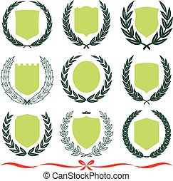 coronas, insignias, vector, protectores