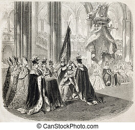 Coronation - Antique illustration of coronation cerimony of...