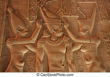 Coronation of the King, a relief from the walls of Kom Ombo...