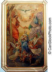 Coronation of Virgin Mary, painting at the church altar