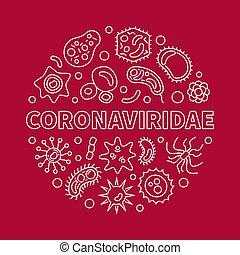 coronaviridae, lineal, vector, mínimo, ilustración, circular...