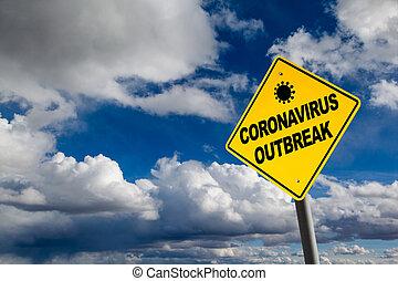 coronavirus, éruption, signe, copie, avertissement, espace