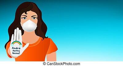 coronavirus, être, campagne, elle-même, portrait, social, covid-19, slogan, concept, masque, protéger, monde médical, fine-, volonté, femme, écrit, latex, -everything, au-dessus, gant, italien