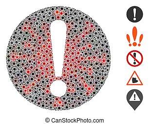 coronavirus, ícone, mosaico, problema