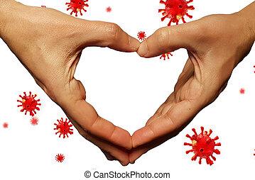 coronavirus, -, übertragung, spenden, hilfe, hintergrund, unterstuetzung, finanziell, pandemisch, covid-19, 3d