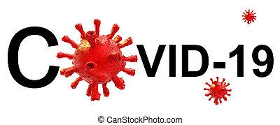 coronavirus, -, übertragung, text, freigestellt, horizontal, hintergrund, wort, virus, covid-19, 3d
