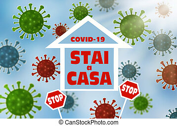 coronavirus, σημαία , σπίτι , σταματώ , επιγραφή , ανάδρομος , ιταλίδα , translated