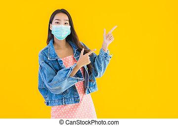 coronavirus, ∥あるいは∥, ウエア, 肖像画, アジア人, 美しい, 保護しなさい, covid19, 女...