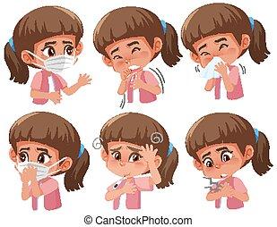 coronavirus, セット, 病気, 別, 女の子, 徴候