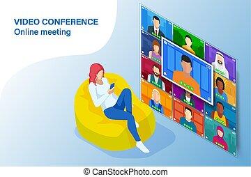 coronavirus, ビジネス, オフィス。, 家, オンラインで, 形態, team., pandemic., ...