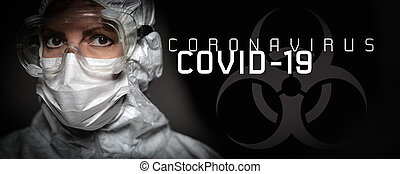 coronavirus, マスク, 医学, 看護婦, 旗, ∥あるいは∥, 保護である, テキスト, 女性の額面, ギヤ, 医者, covid-19