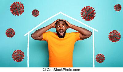 coronavirus, メッセージ, 家, 彼の, 中, 家, 外, のまわり, 滞在, 人, 概念