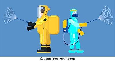 coronavirus, 予防, 清掃, 病気, 人を配置する, 化学物質, covid-19, ウイルス, イラスト...