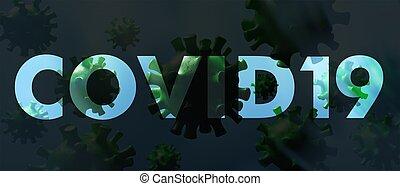 coronavirus, 光景, concept., 浮く, 伝染, インフルエンザ, micro, 中国語, ...