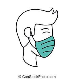coronavirus, 医学, 19, 発生, マスク, 人, 広がり, スタイル, 線, 病気, covid, アイコン, いっぱいになりなさい, 防止, pandemic