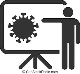 coronavirus, 平ら, アイコン, ベクトル, 講義