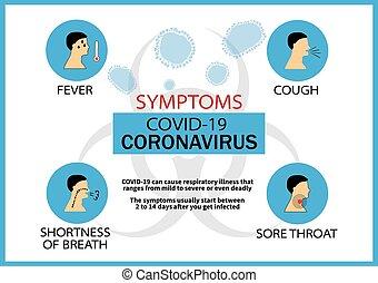 coronavirus, 正文, 插圖, 矢量, infographic, infection., 症狀