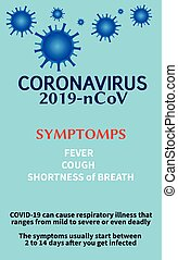 coronavirus, 正文, 矢量, infographic, infection., 症狀