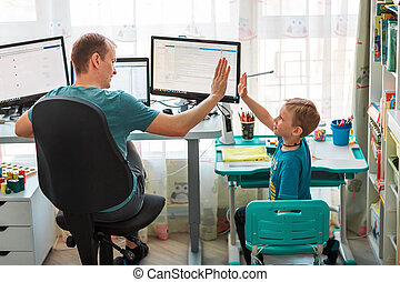 coronavirus, 父, 家, quarantine., 子供, 仕事, 仕事, 滞在, 概念, の間, pandemic, 家