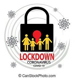 coronavirus, 状態, 発生, 検疫, シンボル。, 伝染病, lockdown, 汚染