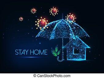 coronavirus, 発生, 家, 滞在, 概念, の間, 未来派
