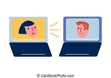 coronavirus, 筆記本電腦, 家, 在網上, 有, 流行病, 會議, 朋友, 在期間