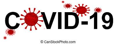 coronavirus, -, 19, interpretación, aislado, fondo blanco, ...