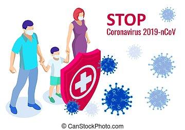 coronavirus, 2019-nc0v, concept., batallas, outbreak., médico, brote, china, riesgo, salud, alarma, respiratorio, viaje, tracto, ataques, virus, pandemia