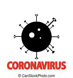 Coronavirus 2019-nCoV. Corona virus icon. Black on white ...