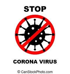 Coronavirus 2019-nCoV. Corona virus icon. Black on white background isolated. No Infection and Stop Coronavirus Concepts. Vector illustration.