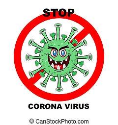 Coronavirus 2019-nCoV. Corona virus icon. Green on white background isolated. No Infection and Stop Coronavirus Concepts. Vector illustration.