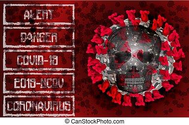 Coronavirus 2019-nCoV, Covid-19, alert banner with skull. vector illustration
