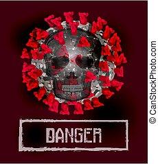 Coronavirus 2019-nCoV, Covid-19, danger card with skull. vector illustration