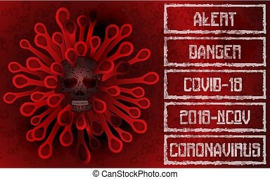 Coronavirus 2019-nCoV , Covid-19 , skull banner. vector illustration