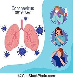 coronavirus 2019 ncov infographic with lungs and people sick