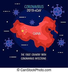 coronavirus 2019 ncov infographic with map china and particles