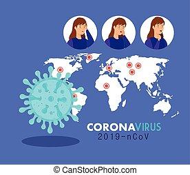 coronavirus 2019 ncov poster with women