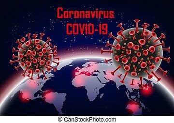 Coronavirus 2019-ncov with earth on background. Wuhan virus disease. Banner with Coronavirus red cell molecule. vector illustration.