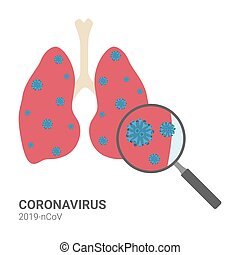 Coronavirus 2019-ncov with lung and magnifying on white background, vector illustration