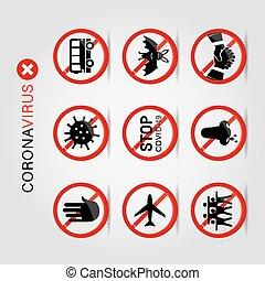 Coronavirus 2019 Prevention Icon Vector set for infographic ...