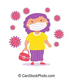 Body positive girl with face mask. COVID-19 conceptual vector illustration. Protection from coronavirus or respiratory virus. Prevent infection respiratory tract.