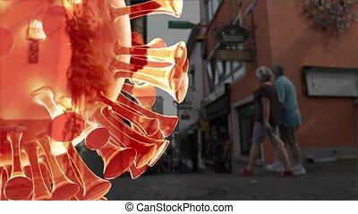 Coronavirus 3D concept of Covid 19 pandemic 3d render.