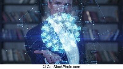 coronavirus, 3d, jego, covid-19, 3840x2160., hologram, ...