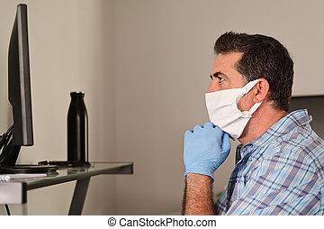 coronavirus, abajo, diagnosed, maduro, hogar, hombre, adulto, preocupado, mirar, cuarentena, (covid-19), computadora, sí mismo, aislamiento, infected, pantalla, cerradura