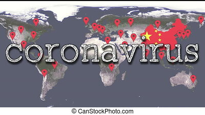 World Map Of The Spread Of COVID-19 Chinese Virus Infection With The Words Coronavirus And Alert, Red POI Markers, Background Animation - DCi 4K