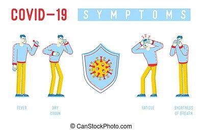 coronavirus, alito, caratteri, sintomi, vettore, bandiera, ...