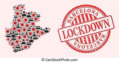 CoronaVirus and Masked Men Mosaic Barcelona Province Map and Lockdown Watermark Seal