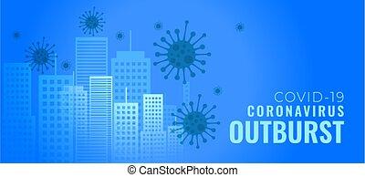 coronavirus, arrebato, ciudades, bandera, infecting, edificios, concepto
